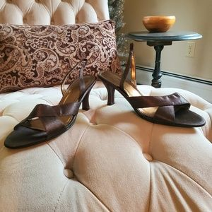 Chocolate Brown Satin Slingback Kitten Heels